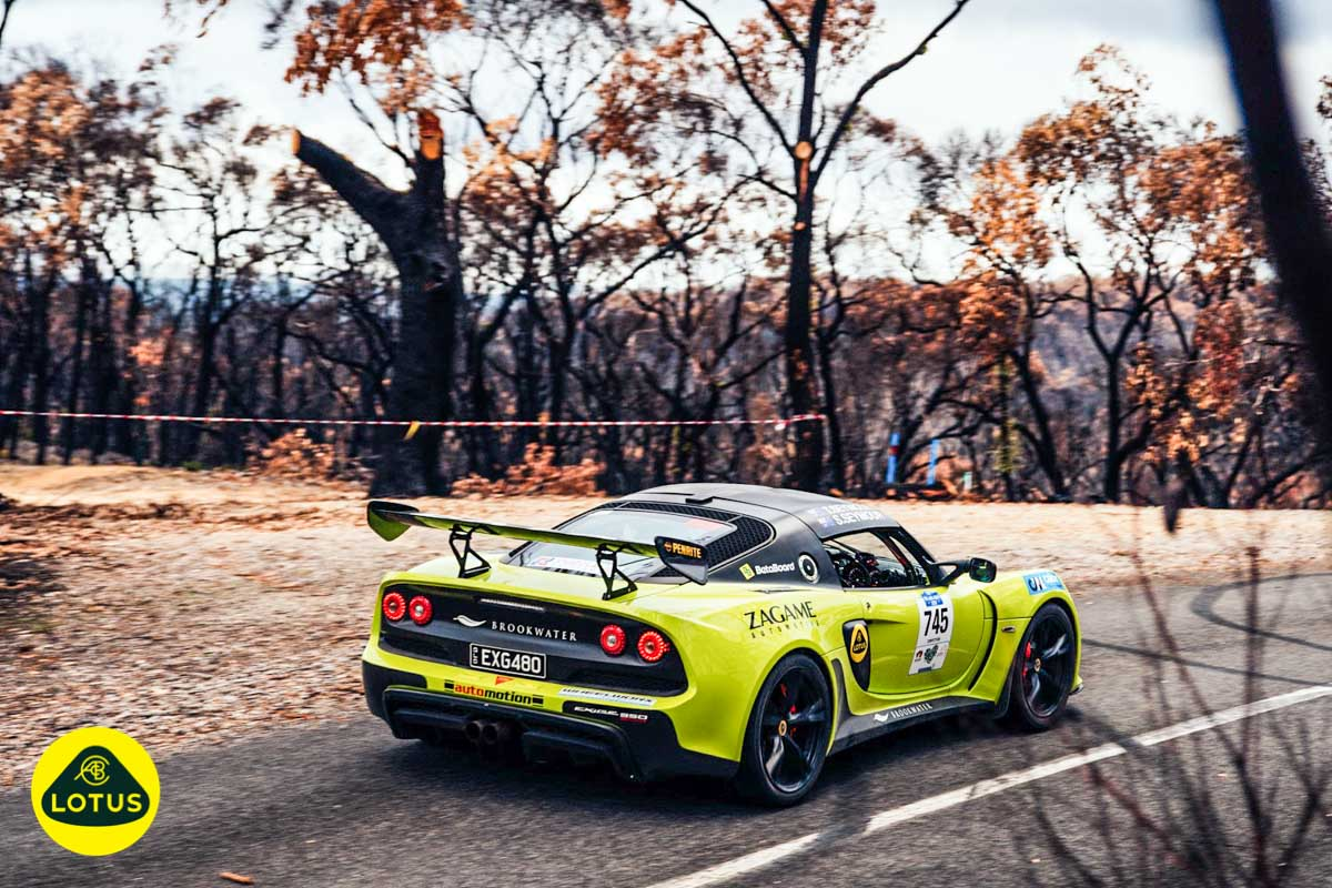Tony and Sandra Seymour at Adelaide Rally driving in their Lotus Exige sports car on stage