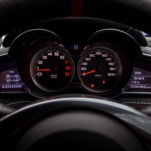 Lotus Evora dashboard dials and instruments close up