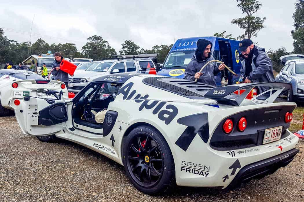 Lotus Exige doing Targa rally motorsport vehicle preparation by Simply Sports Cars for Jeff Morton