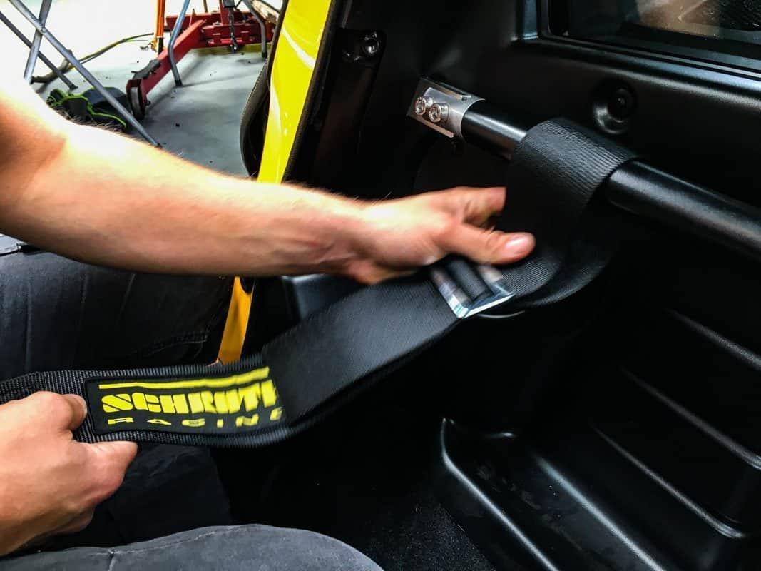 Lotus Exige or Elise Schroth track day racing belt and harness bar installation for standard seats