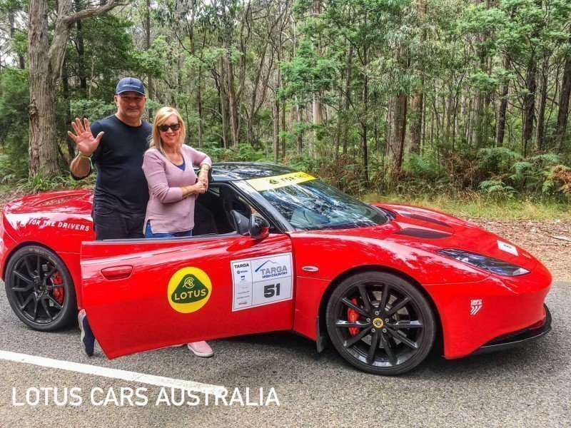 Lotus Sports Cars at Targa High Country Tarmac Rally February husband and wife doing the tour red Evora